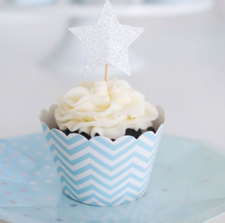Chevron Blue Cupcake Wrapper