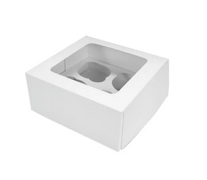 Load image into Gallery viewer, White Display Cupcake Box - Mini 4 Holes