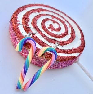 Load image into Gallery viewer, Candy Cane Rainbow Dangle Earrings