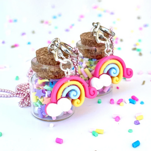 Load image into Gallery viewer, Sprinkle Jar with Rainbow Necklace