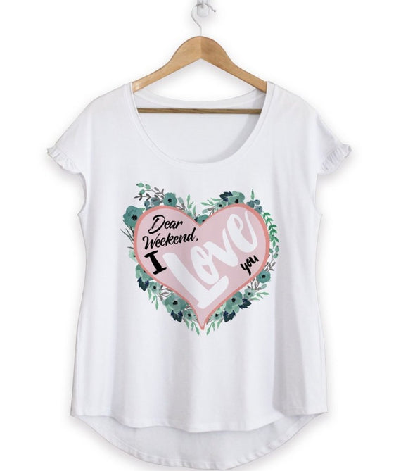 Dear Weekend I Love You Cotton Ruffle Tee - Green Orchid Soap Co.