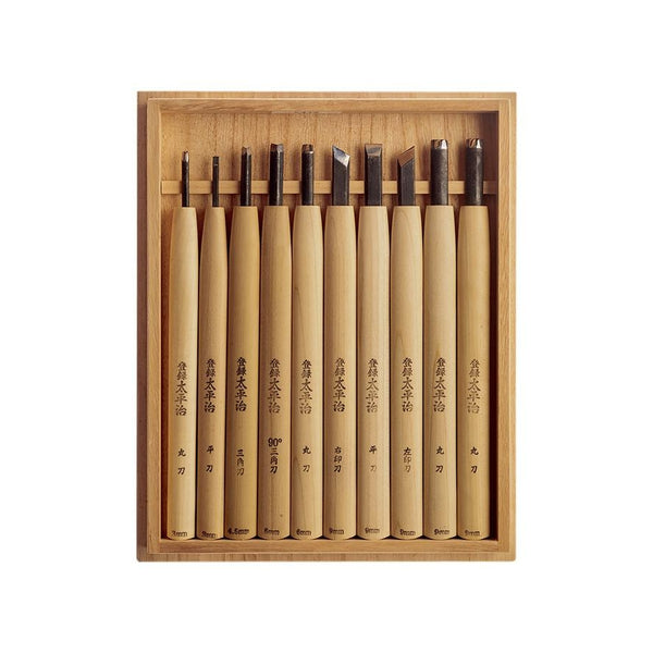 Taheiji Carving Chisel 10 piece Set - Japanese Tools Australia