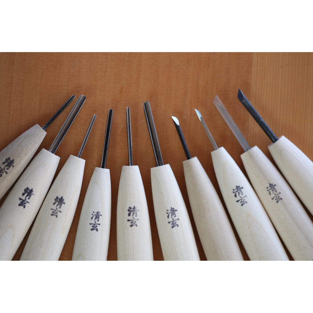 """Tomo"" Netsuke Carving Chisels 10 pcs Set - Japanese Tools Australia"
