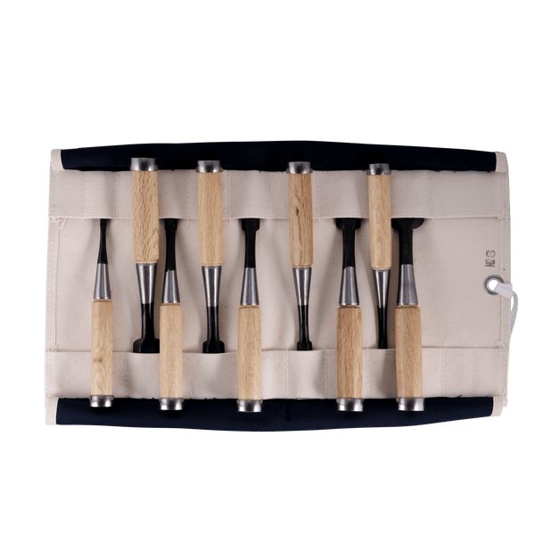 Set Of 9 Bullfighter Bench Chisels in Roll