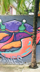 Large street art in Panama of a colorful crab