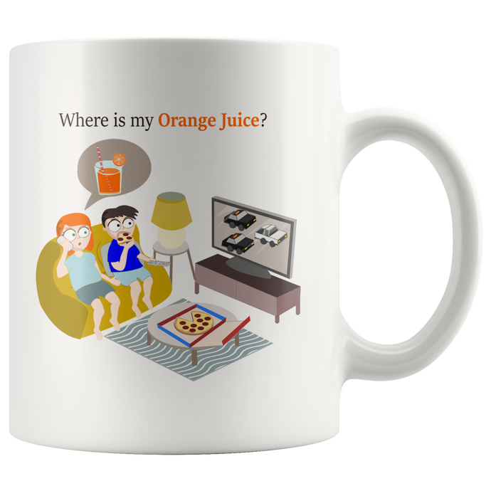Orange Juice White Ford Bronco Police Chase Pizza Mug