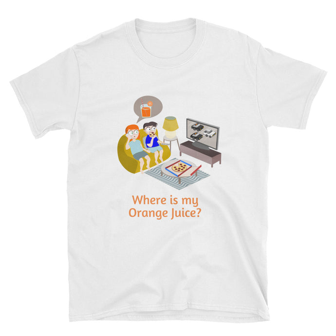 Orange Juice OJ Pizza White Ford Bronco Police Chase Short-Sleeve Unisex T-Shirt-Amicus Puree