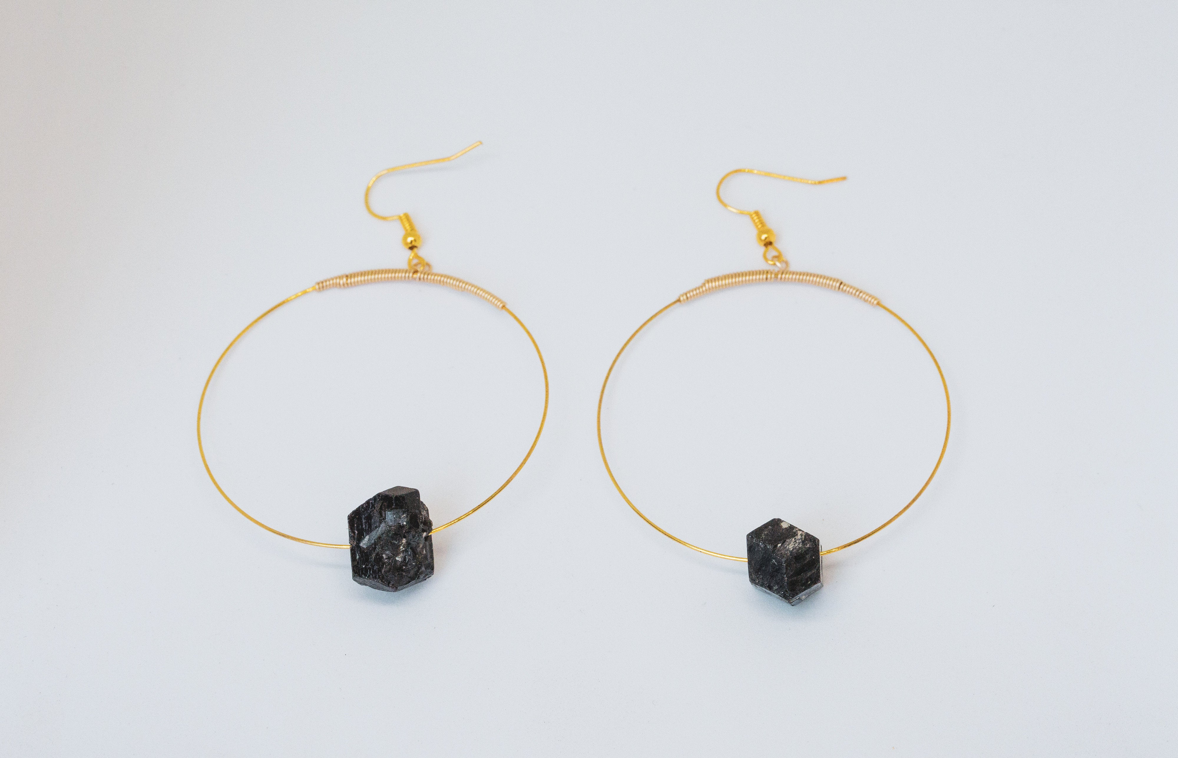 Bastet - Black Tourmaline Hoop Earrings