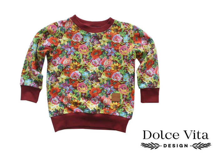Sweatshirt, Flowers Maroon