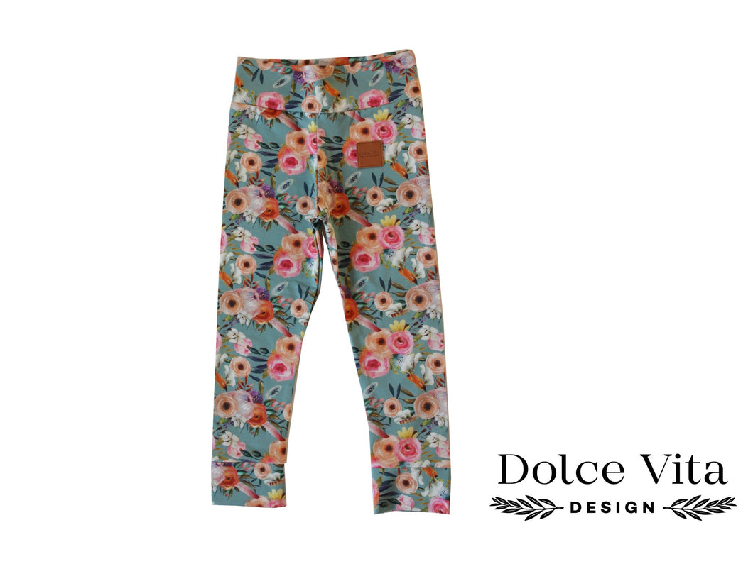 Leggings, Pastel Flowers SLIM
