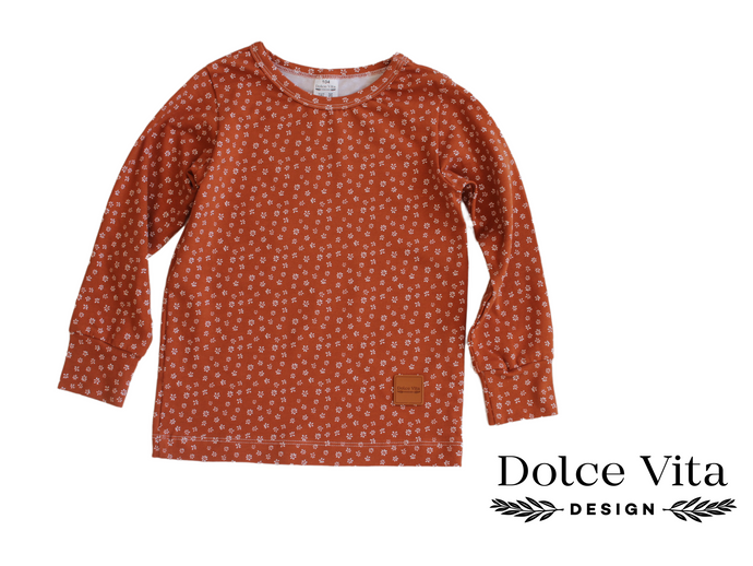 Tricot Shirt, Tiny Flowers Brown
