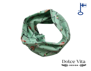 Tricot Scarf, Birds Mint