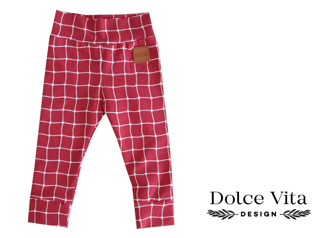 Leggings, Checkered Red SLIM