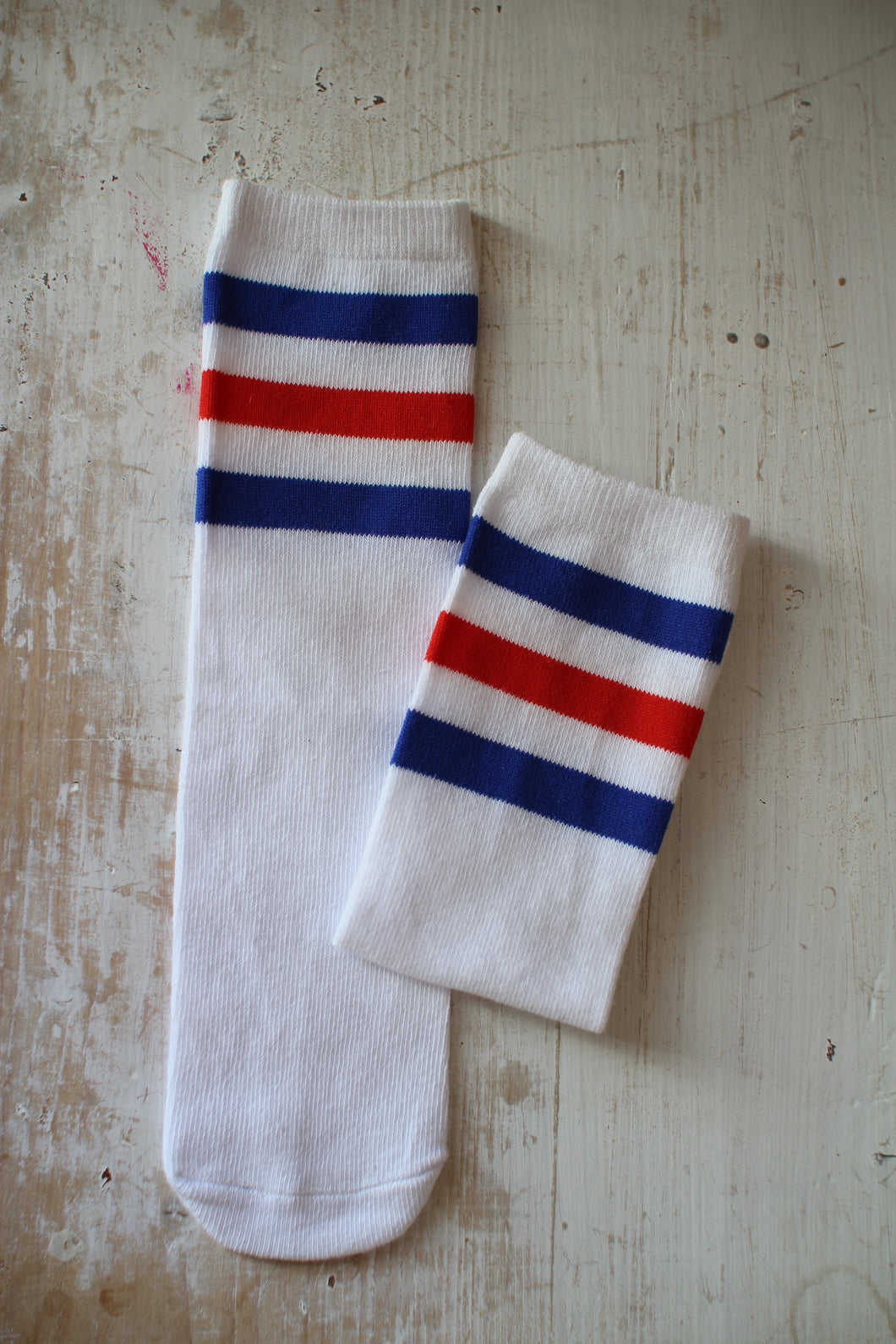 Knee Socks, Stripes Red & Blue