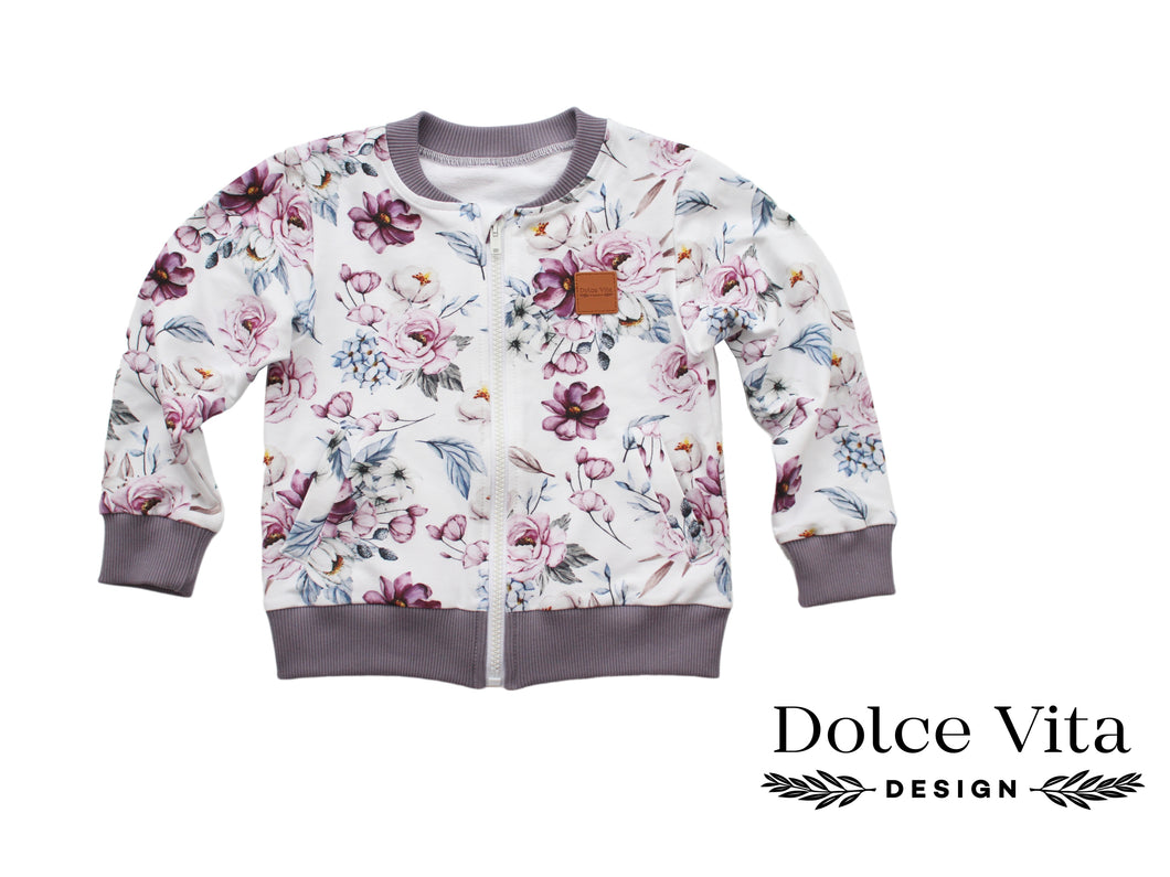 Sweatshirt Jacket, Watercolor Flowers