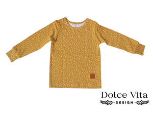 Tricot Shirt, Tiny Flowers Yellow