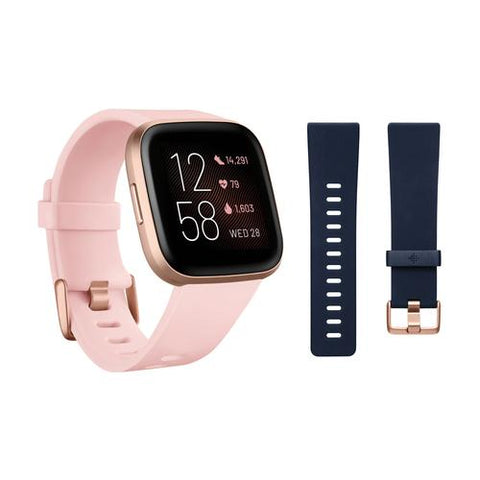 Fitbit Versa 2 Smartwatch Bundle w/ Small and Large Bands - Petal