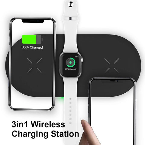 3-in-1 Wireless charger station, Fast charging pads for iPhone/iWatch/Air-pods (M7)