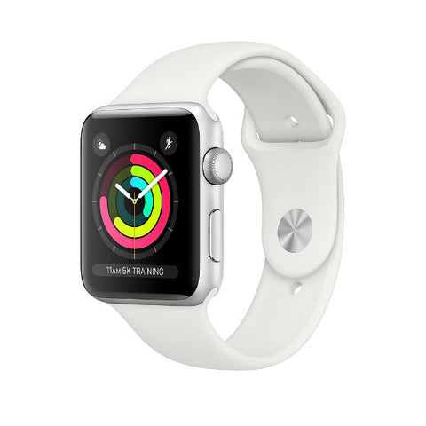 Apple Watch Series 3 -  Silver Aluminum Case with White Sport Band