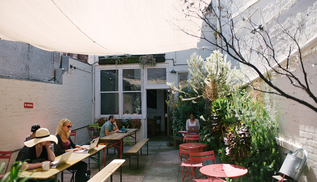 the beautiful and bright back patio
