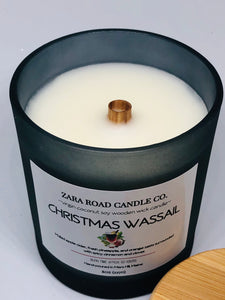 Christmas Wassail Spiral Wooden Wick Coconut Wax Candle