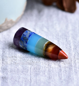 Natural Crystal Colorful Bullet Pendant Guardian Necklace