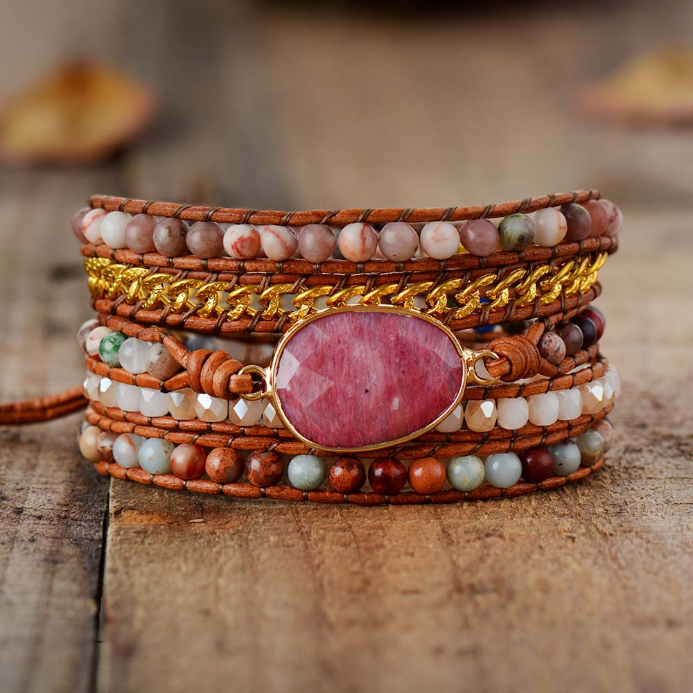 Calming Rhodonite Wrap Bracelet