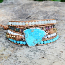 Load image into Gallery viewer, Turquoise Wrap Leather Bracelet