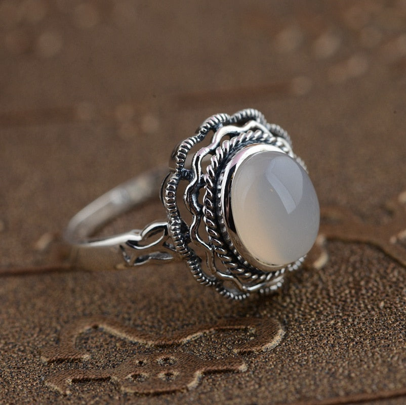 Natural White Chalcedony Ring