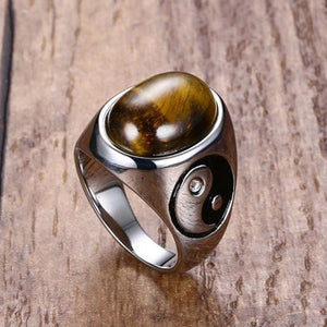 Tiger Eye Yin Yang Ring