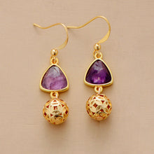 Load image into Gallery viewer, Elegant Gold Amethyst Earrings