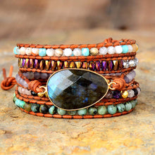 Load image into Gallery viewer, Labradorite African Turquoise & Agate Wrap Bracelet