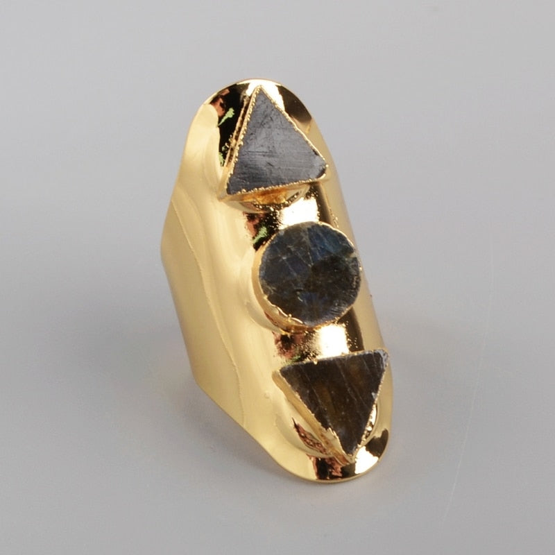 Triangle & Round Labradorite Ring