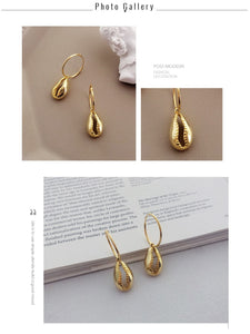 Gold Plated Sterling Silver 925 Shell Earrings