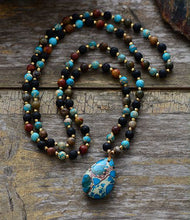 Load image into Gallery viewer, Labradorite Onyx Amazonite Pendant Necklace