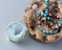 Load image into Gallery viewer, Turquoise Druzy Beaded Necklace
