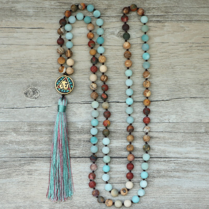 Mala Amazonite & Jasper Tassel Necklace