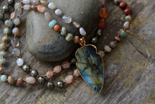 Load image into Gallery viewer, Protective Labradorite Beaded Mala Necklace