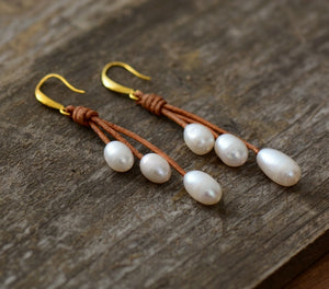 Natural Freshwater Pearls Leather Earrings