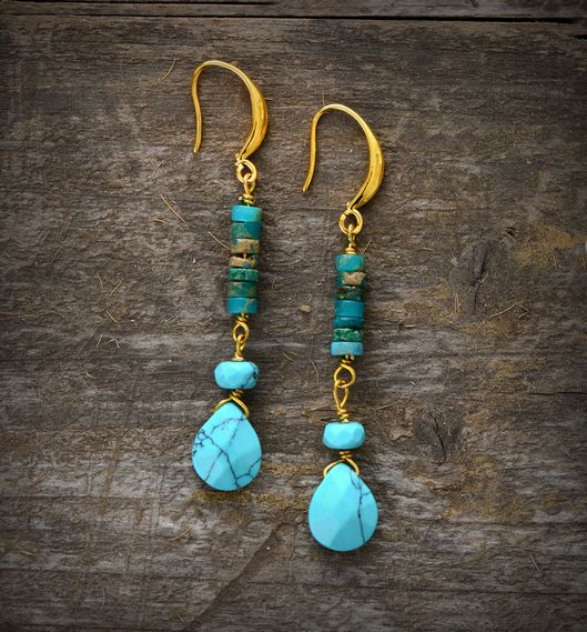 Turquoise Natural Stone Teardrop Earrings