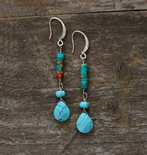 Load image into Gallery viewer, Turquoise Natural Stone Teardrop Earrings