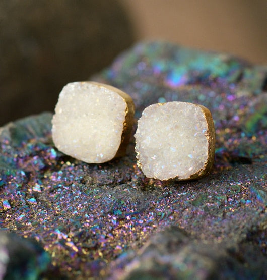 Florescent Snow White Druzy Earrings