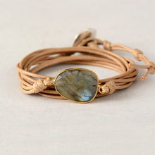 Load image into Gallery viewer, Labradorite Light Brown Leather Bracelet