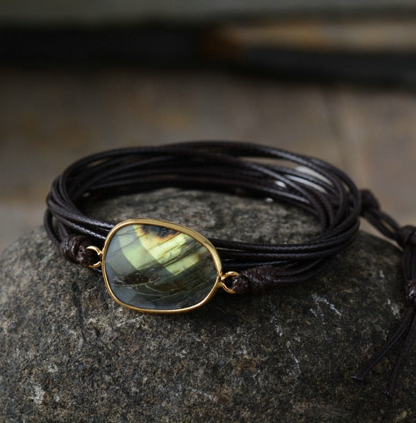 Labradorite Dark Brown Leather Bracelet
