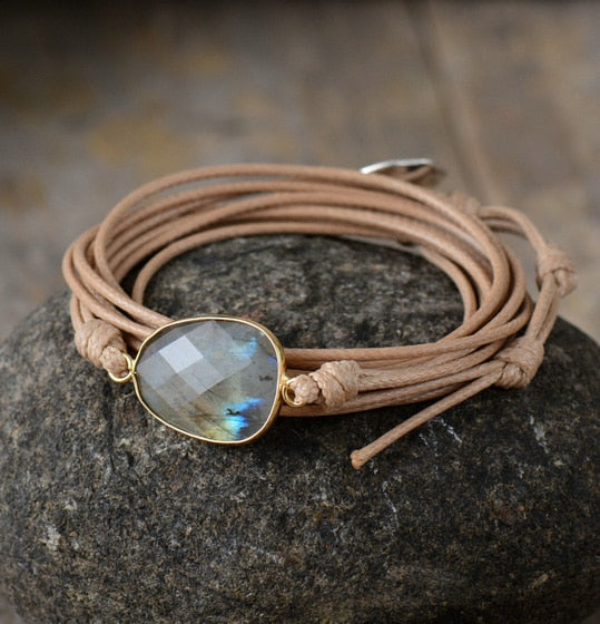 Labradorite Light Brown Leather Bracelet