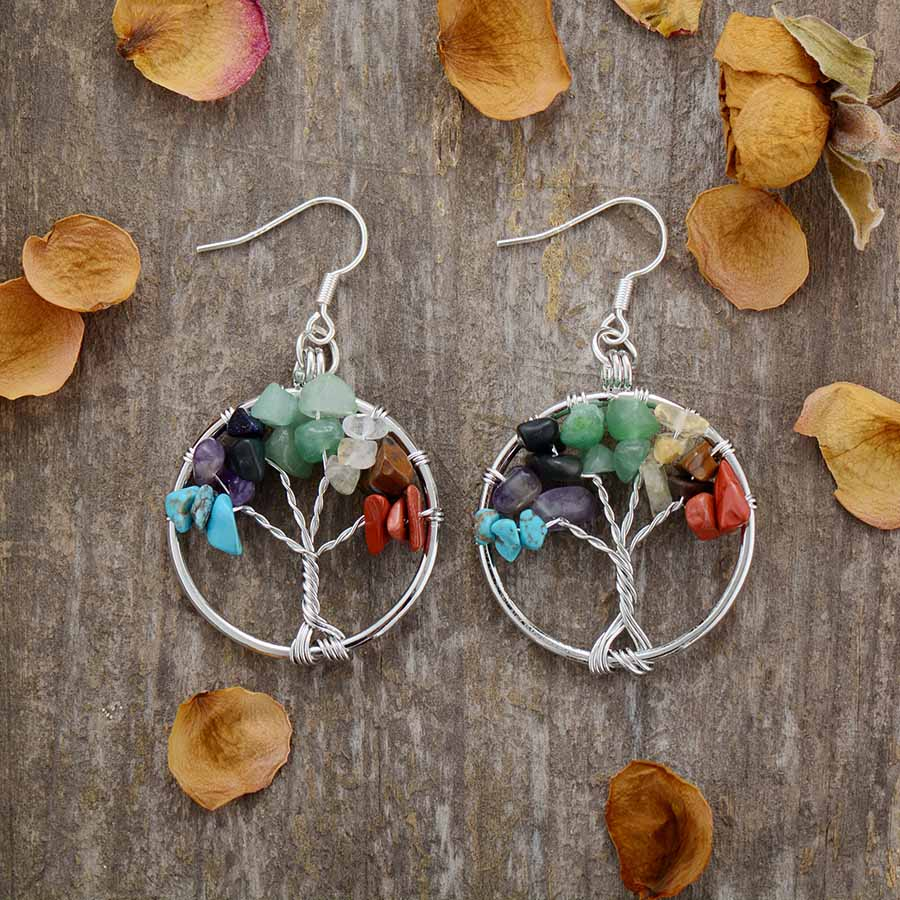 Tree of Life Chakra Earrings