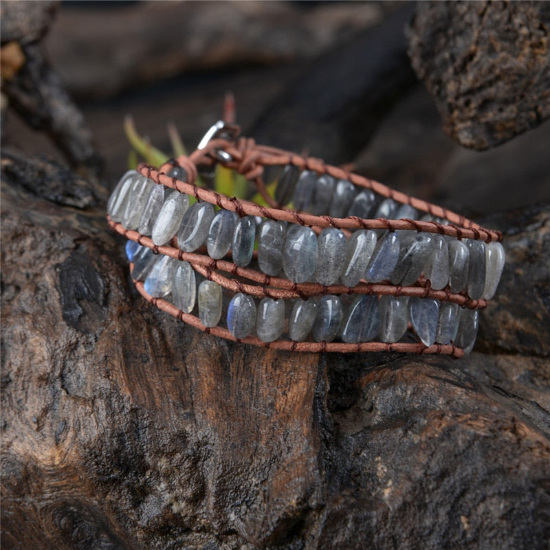Labradorite Leather Bracelet