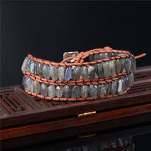 Load image into Gallery viewer, Labradorite Leather Bracelet