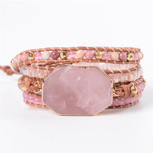 Load image into Gallery viewer, Love Chakra Rose Quartz Wrap Bracelet