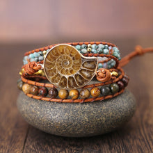 Load image into Gallery viewer, Ammonite Fossils Seashell Wrap Bracelet